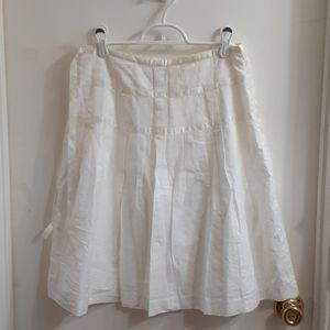 White, ribbon pleated summer skirt